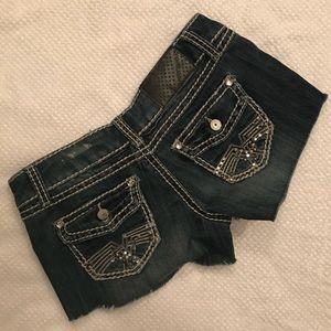 Raw Hem Distressed Denim (medium wash Jean) Shorts